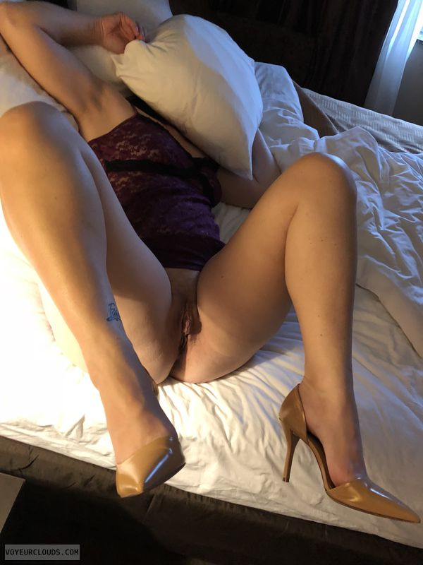 Milf, hotel, clit piercing, sexy heels, tattoo, see through