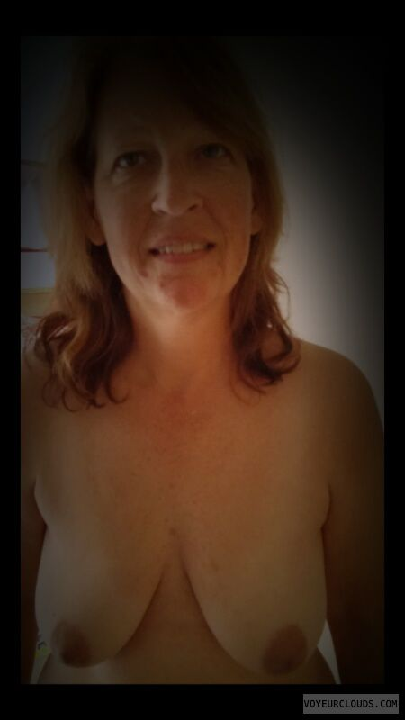 Wife tits, Dark nipples, Small boobs, Topless
