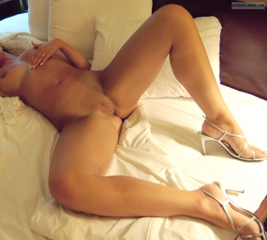 Blonde milf, mature wife, spread legs, legs wide open