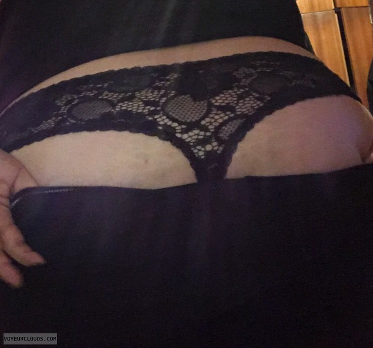 dressing up, undressing, black thong, lace thong, big ass