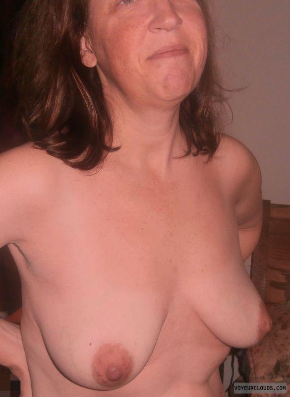 Topless, Slut, Wife tits, Whore, Dark nipples, Hard nipples