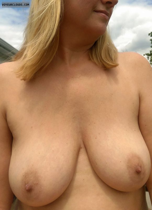 milf, blonde, natural, wife, topless, big tits