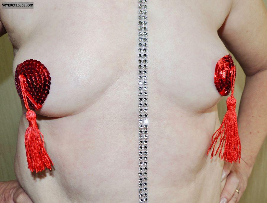 tits, wife tits, milf tits, nipple tassels, topless