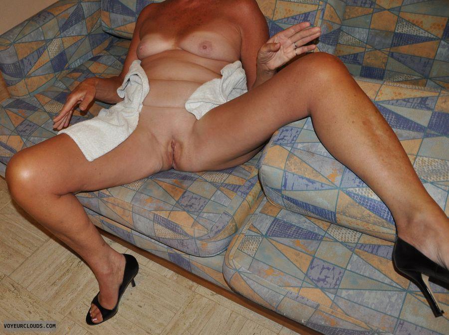 senior, tan, tan lines, mature, heels, legs, tits
