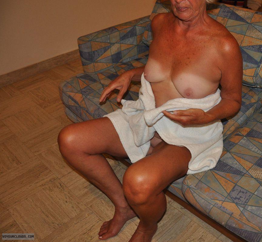 Tan, tan lines, tits, nude, senior, mature