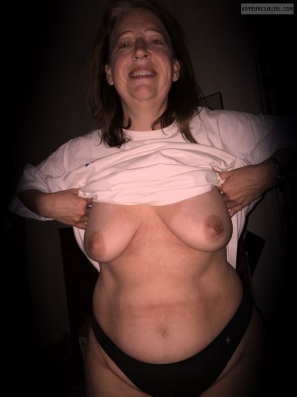 Small boobs, mature, titflash, sexy smile, Wife tits