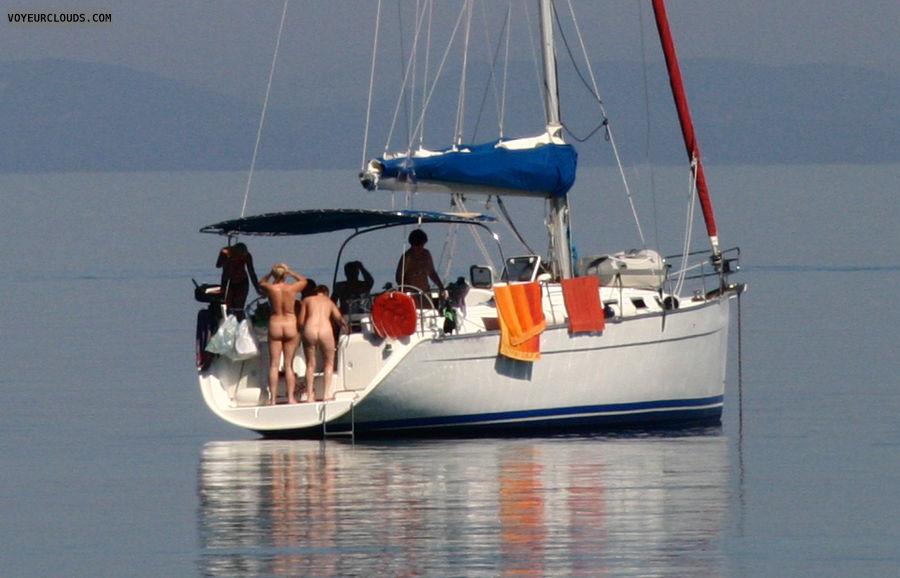 nudists, sailing boat, mediterranean, asses, bum, rears