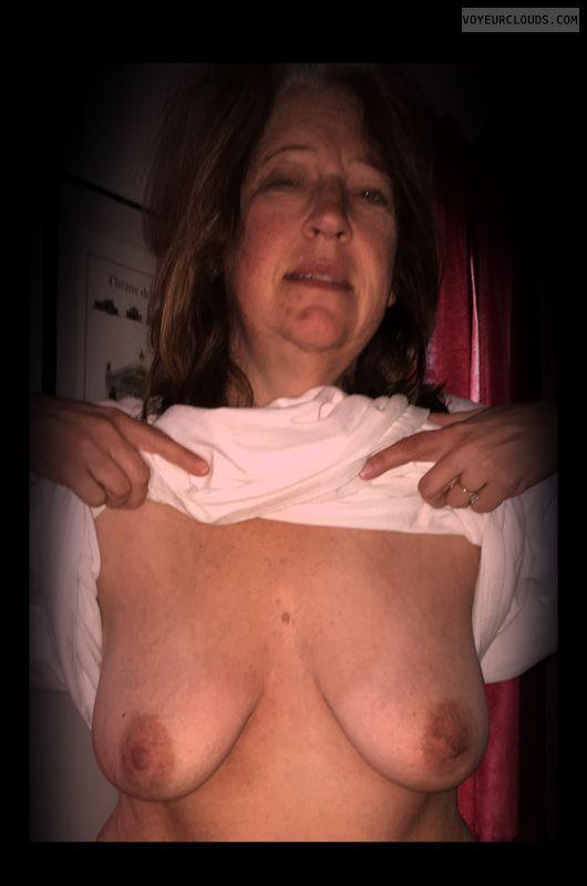 Mature, Small boobs, Titflash