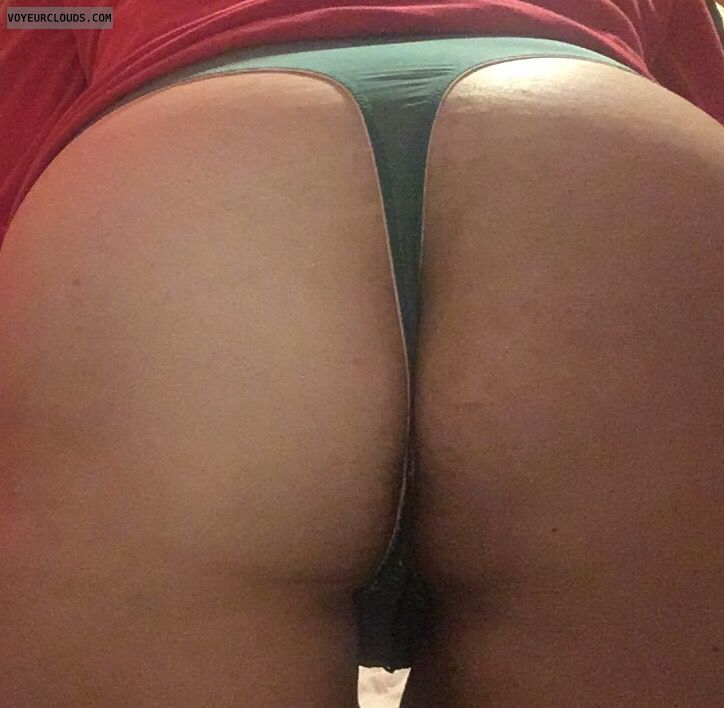 green thong, lingerie, big ass, round ass