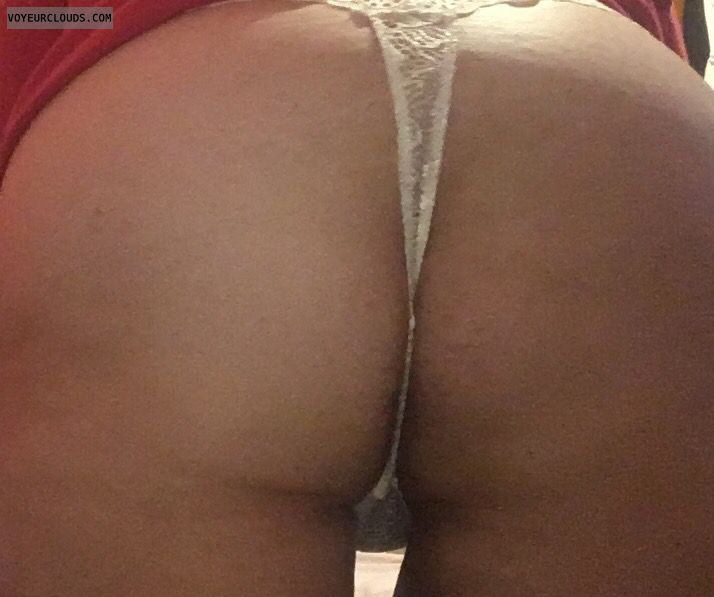 white thong, lingerie, big ass, round ass