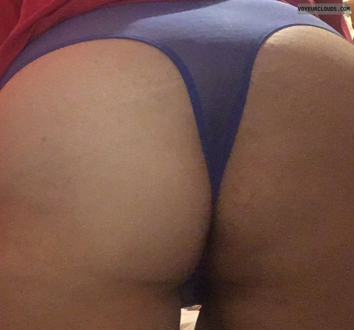 blue thong, lingerie, big ass, round ass