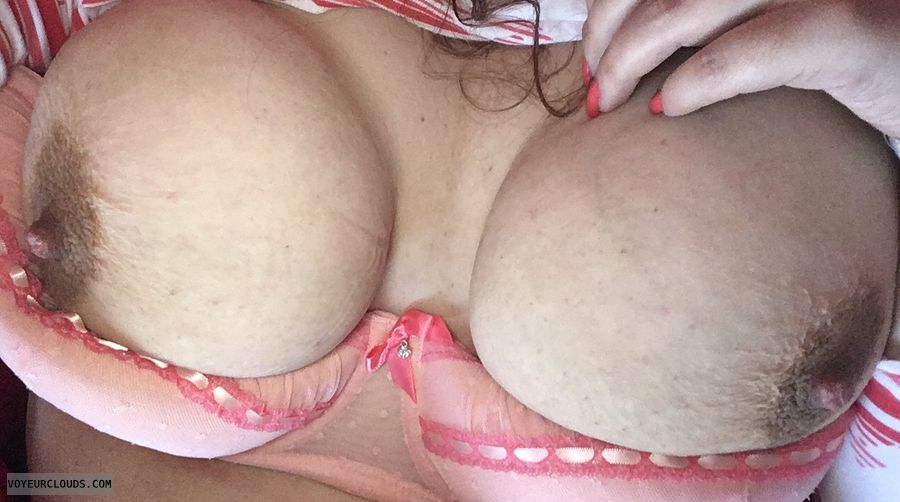 hard nipples, big tits, big boobs, tits out, peachy bra