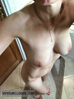 nude woman, hard nipples, shaved pussy, selfie