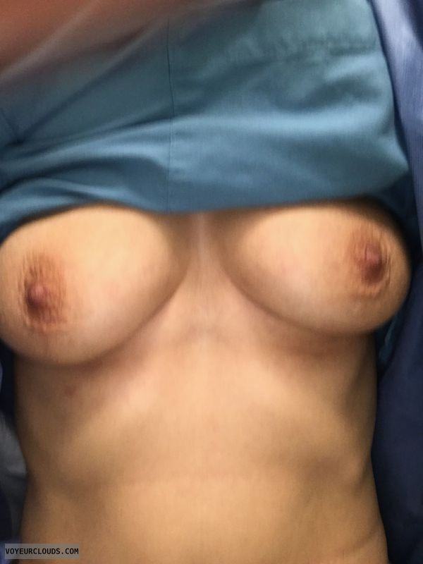 tits out, hard nipples, braless