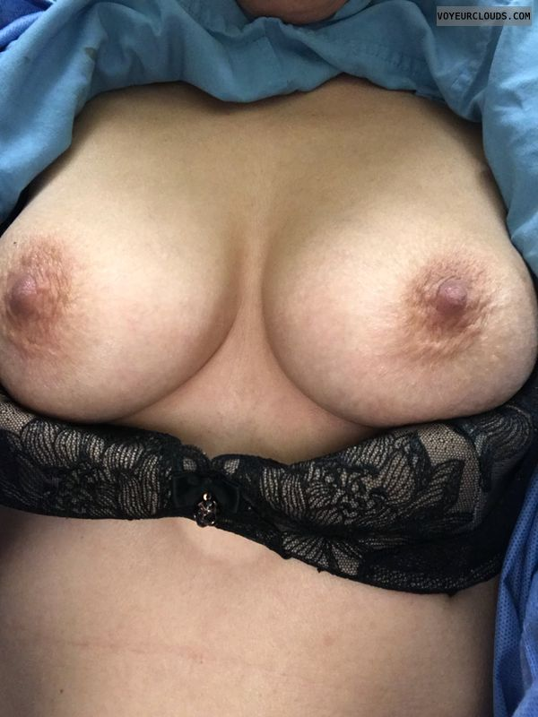 hard nipples, bra down, teasing, selfie
