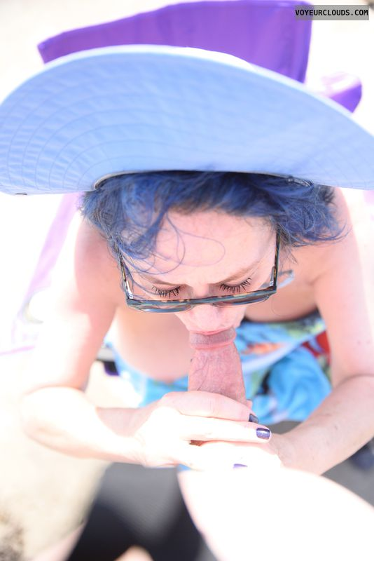 Blow job, suck, beach, glasses