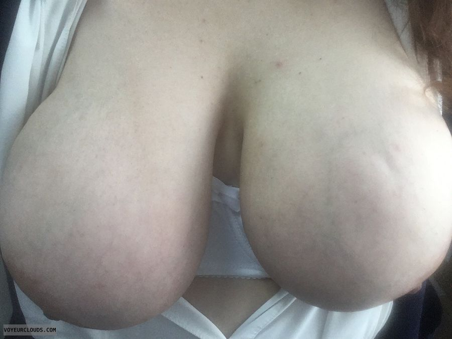 tit flash, big tits, big boobs, tits out, white bra