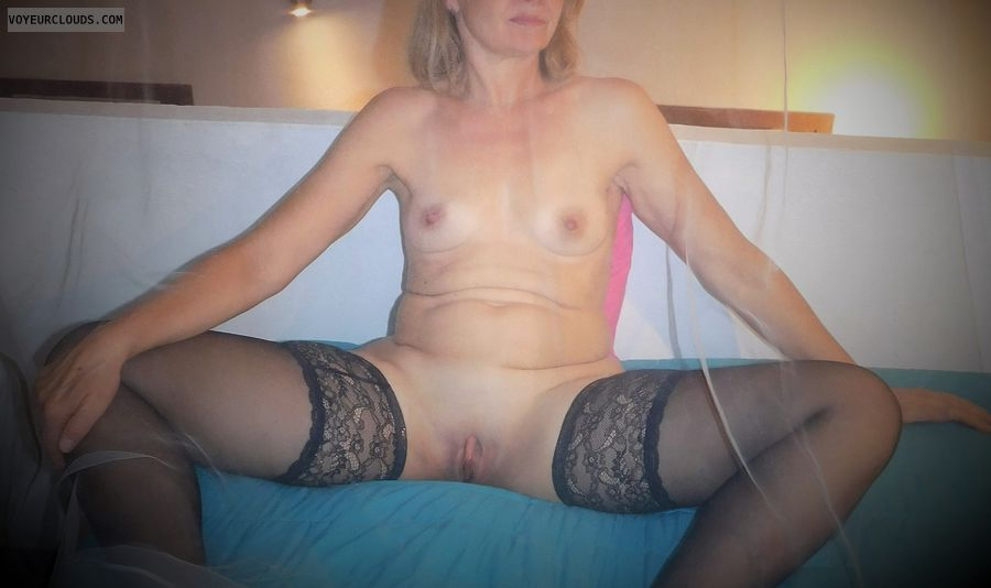 anna, wife, spread, cunt, labia, pussy, tits, stockings