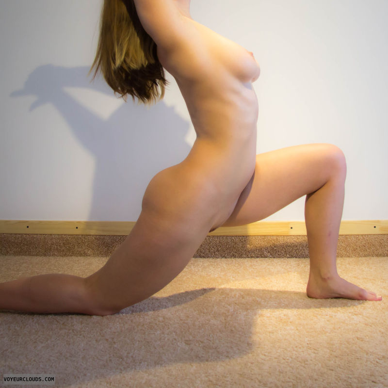 yoga, naked, naked yoga, flexible, tits, big tits
