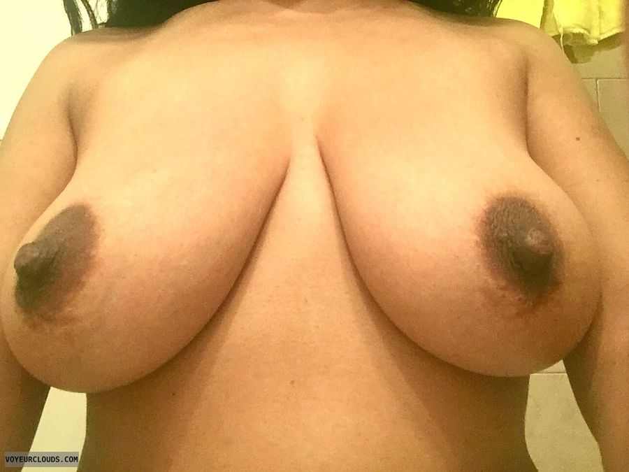 hard nipples, topless, big boobs, big tits, dark nipples