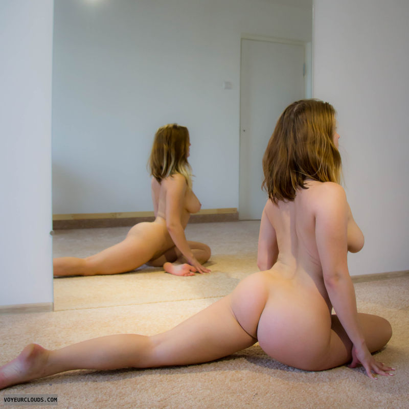 yoga, naked yoga, flexible, butt, big tits