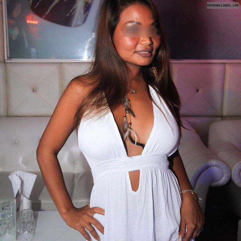 Discoslut, hard nipples, tits out, silkytanned