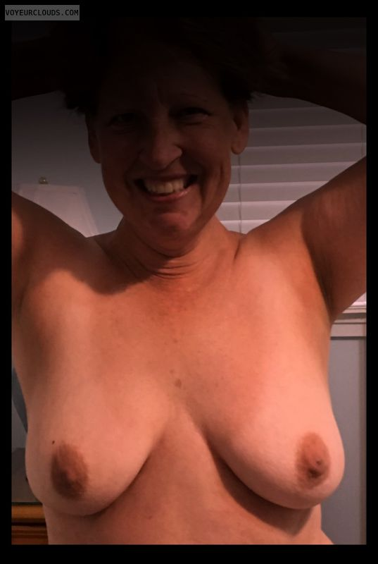 Wife tits, Little boobs, Saggy tits, Nice smile, Older
