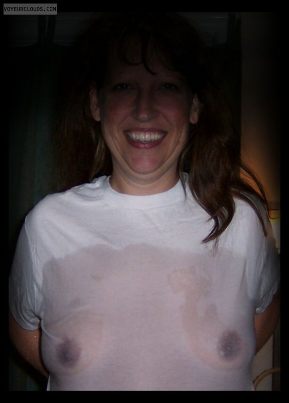 Wet t shirt, Dark nipples, Little boobs, Nice smile