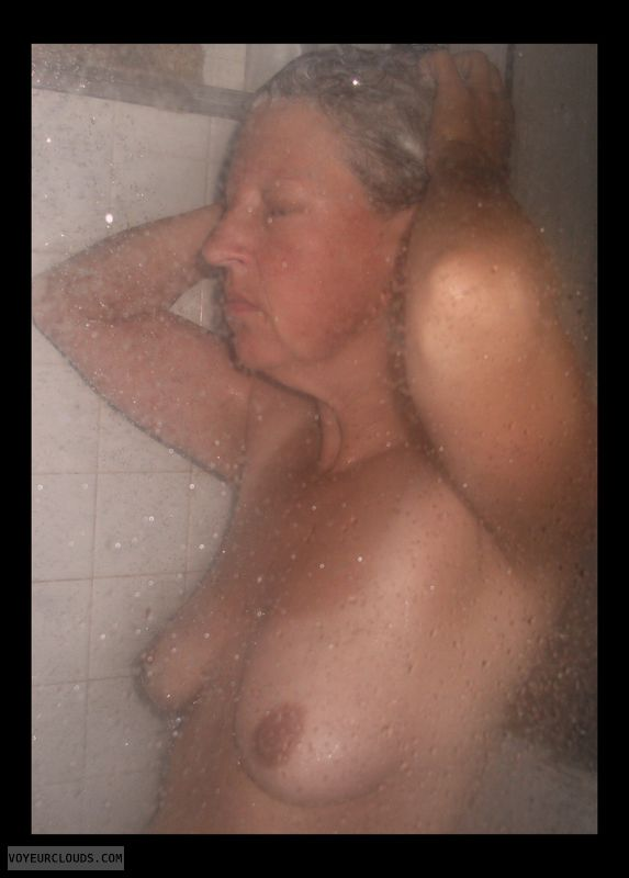 Shower, Little boobs, Saggy tits, voyeur