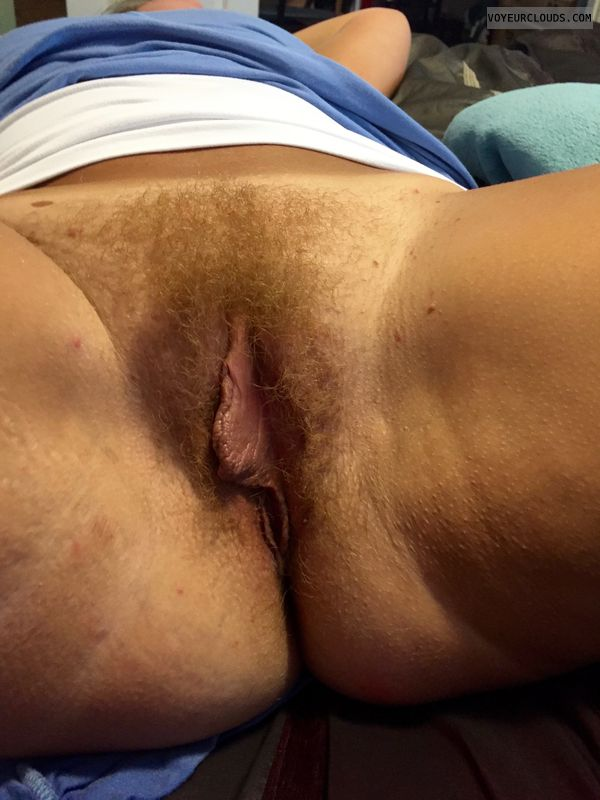 Ginger, hairy pussy, full bush, large labia, open legs
