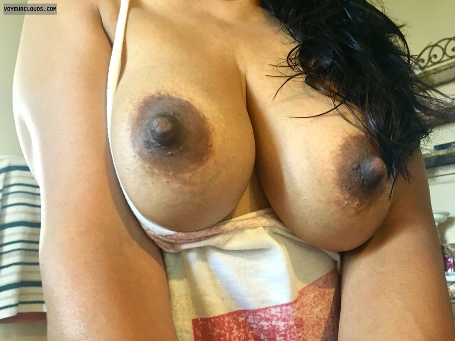 My dark hard nipples, big nipples, big boobs, tits out