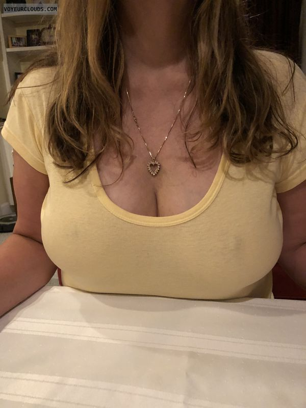 Big tits, see through, deep cleavage, long hair.