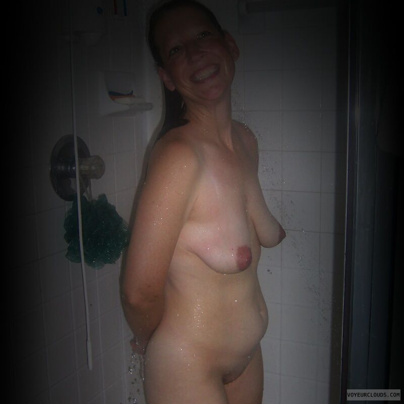 Shower, Nude wife, Full frontal, Dark nips, Little boobs