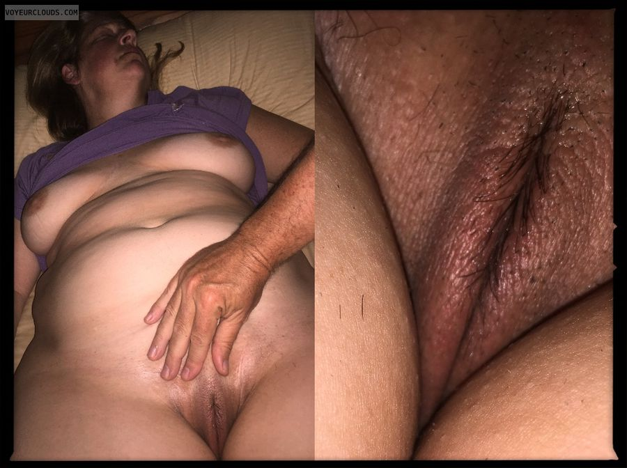 Full frontal, Saggy tits, Dark nips, Older, OK Pussy