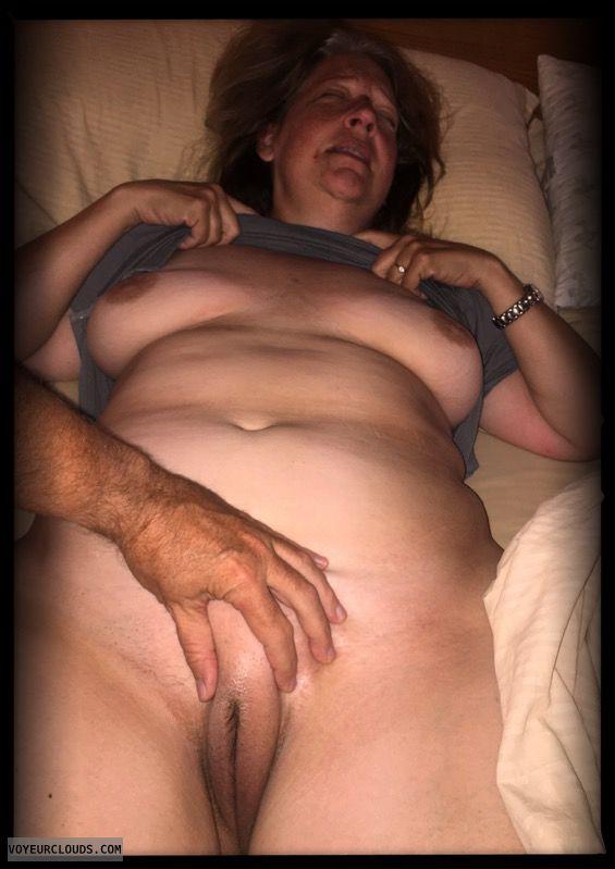 Full frontal, Wife pussy, Dark nips, Saggy tits, Little boobs