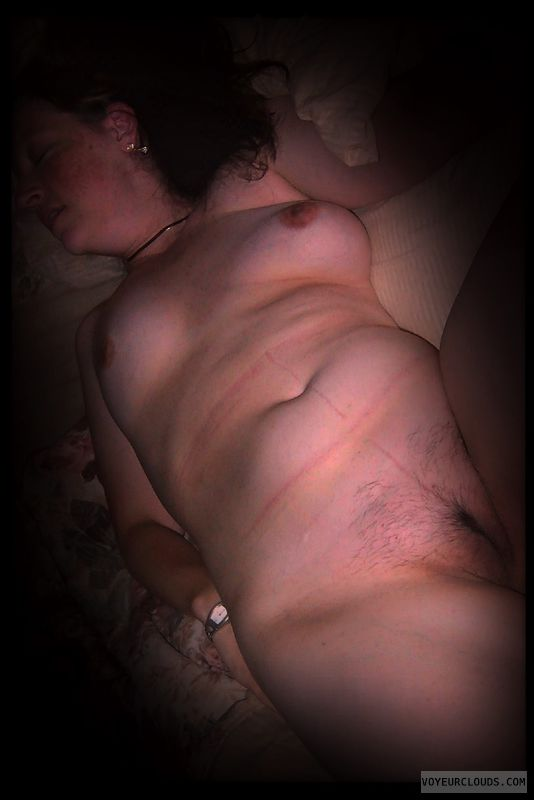 Full frontal, Wife pussy, Little boobs, Dark nips
