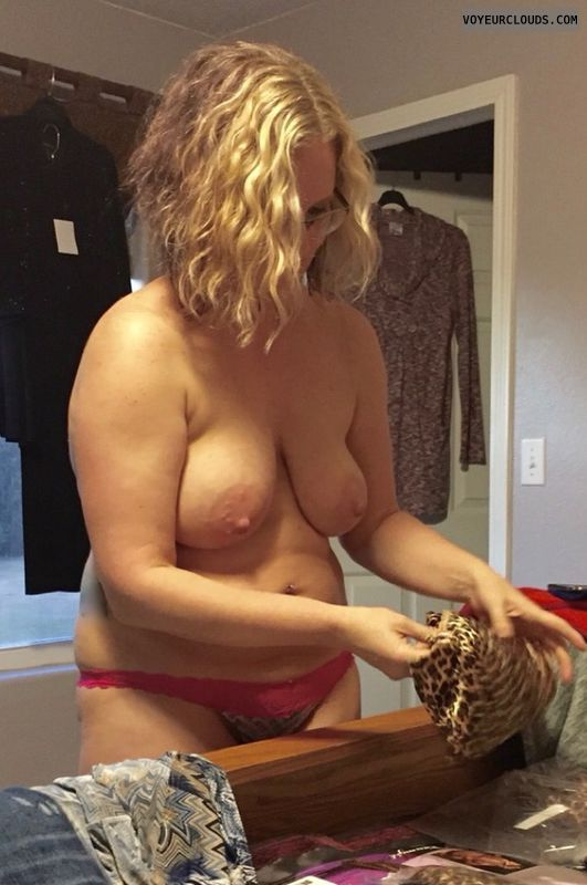 Wife, dressing, saggy titshard nipples, big boobs