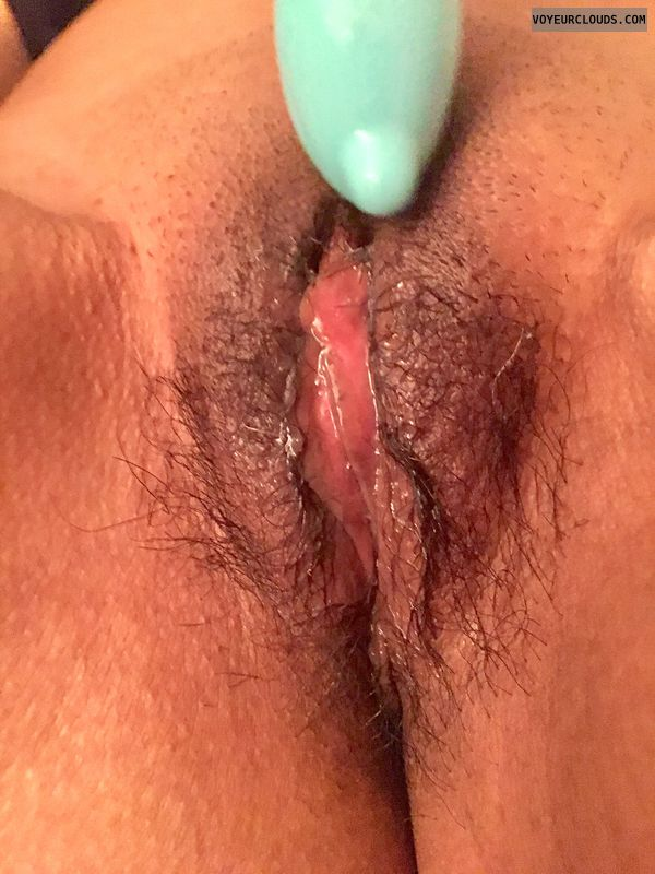 Playing with my wet pussy again, spread legs, hairy pussy