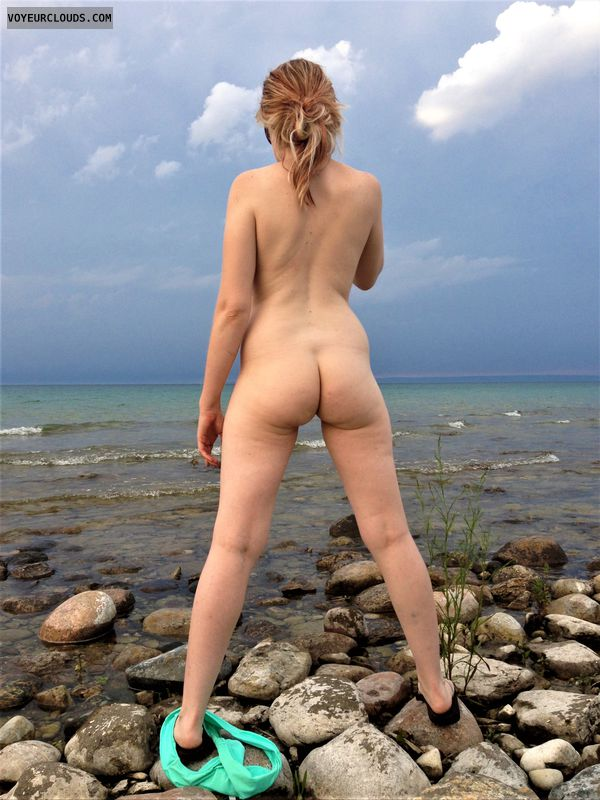 small tits, ass, outdoor, blonde, lake, bikini