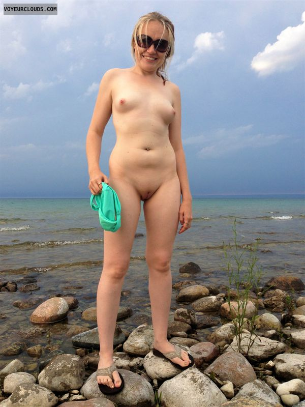 small tits, shaved, blonde, lake, outdoor