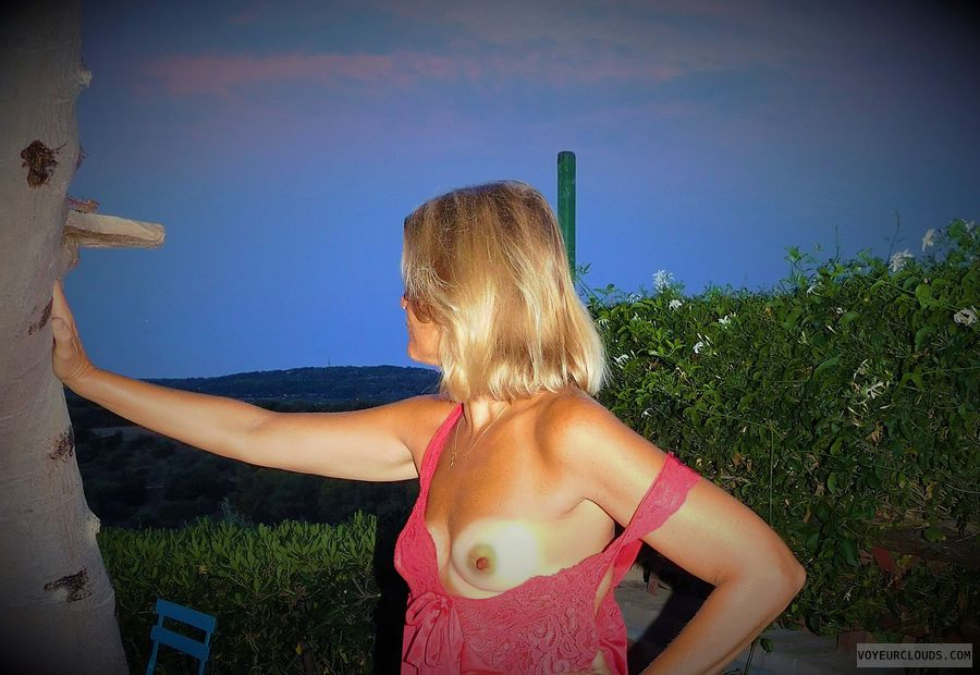 anna, wife, outside, tits, nipples, nightie