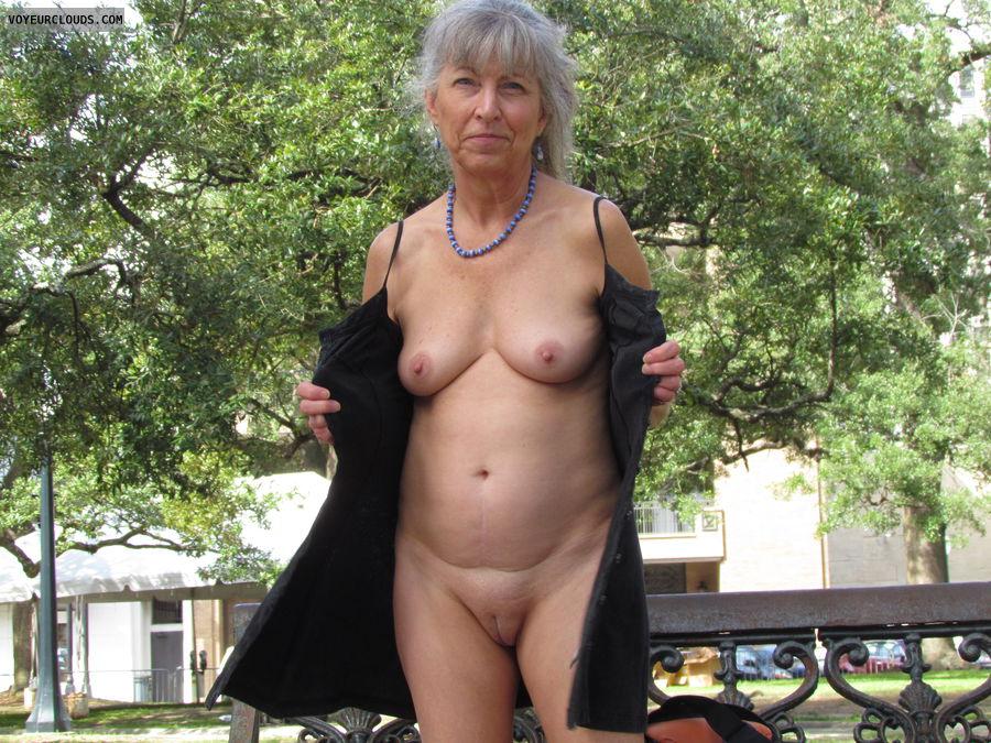 mature wife, public flash, city park, no bra or panties