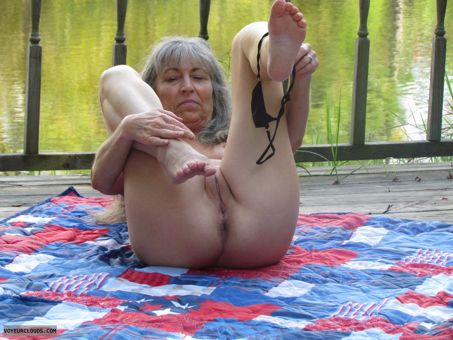 mature wife, removing bikini, pussy and ass, deck by pond