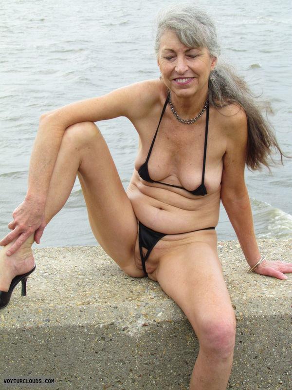 mature wife, extreme bikini, crotchless, public beach
