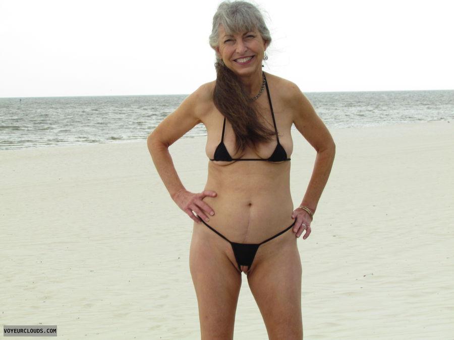 extreme bikini, public beach, crotchless