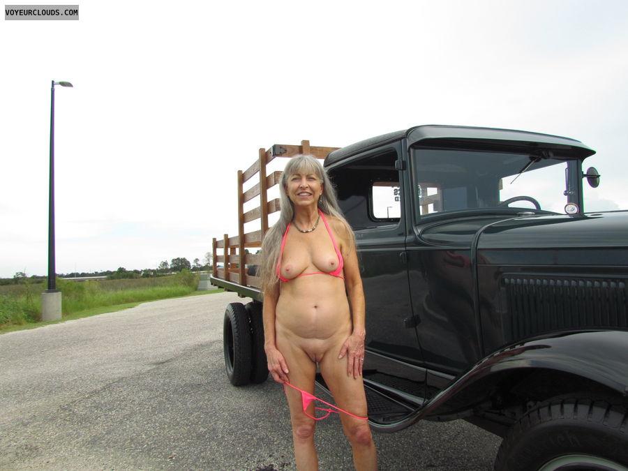 public nudity, antique truck, mature wife