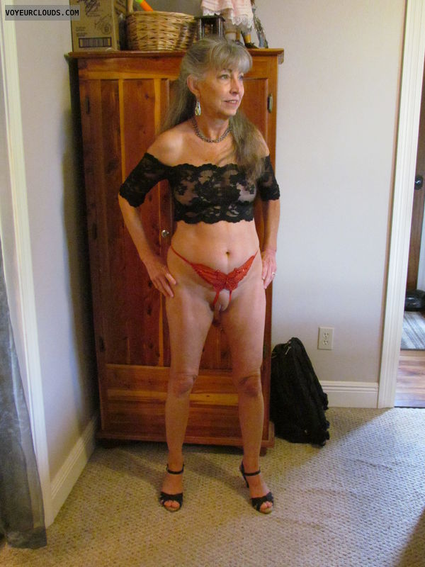 mature wife, lace top, crotchless bottom