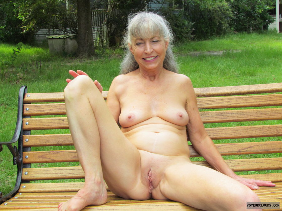 nude wife, outside, mature wife