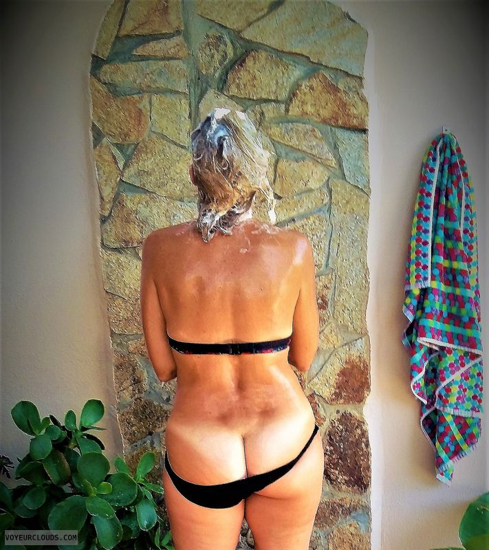 anna, wife, outside shower, ass