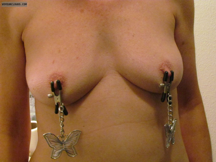 topless, hard nipples, small boobs, small tits, nipple clamps